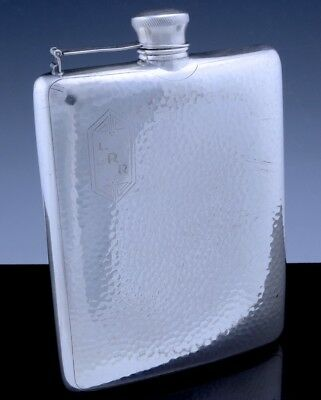 VERY FINE c1920 ART DECO AMERICAN HAMMERED SILVER PLATE 10oz WHISKEY HIP FLASK