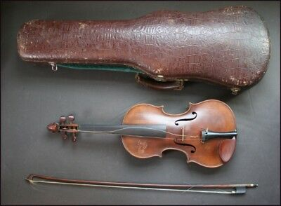 Vintage German Violin 4/4 With Carved Animal Head And Bow And Hard Frame Case