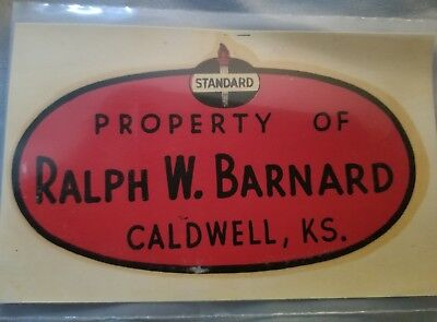 Vitage STANDARD OIL Decal Caldwell, Kansas Gasoline Petroleum Fuel