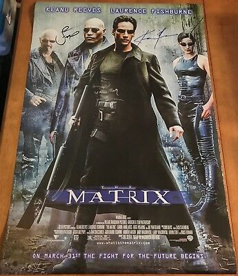 The Matrix Poster Signed by Keanu Reeves, Laurence Fishburne & Hugo Weaving