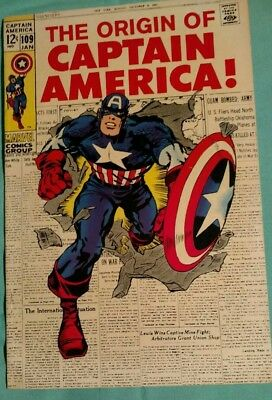 Captain America #109 nice condition-white pages Oigin of Captain America retold.