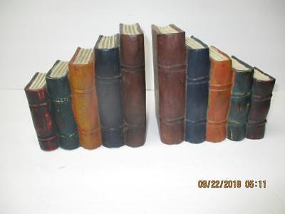 Vintage 5 Stacked Books Wood Bookends Set of 2