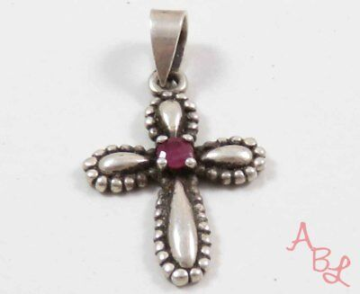 Sterling Silver Vintage 925 Religious Cross Dangle Red Ruby Pendant 1.8g 739370