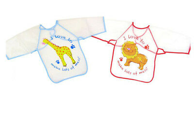 Child's Arts & Craft Painting Apron Baby Bib Messy Play Wipe Clean PVC Coverall