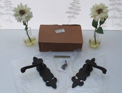 Black Door / Gate Handles, Pair of Wrought Iron Medieval Style, new and Boxed.