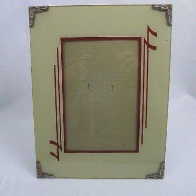 Art Deco Reverse Painted Picture Frame Easel Back 7 X 9 Metal Corners Brown