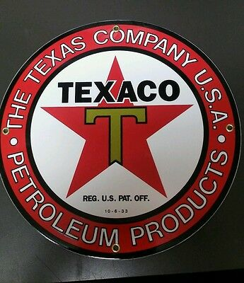TEXACO Gasoline.. Gas / Oil Porcelain advertising Sign....red border...~12""