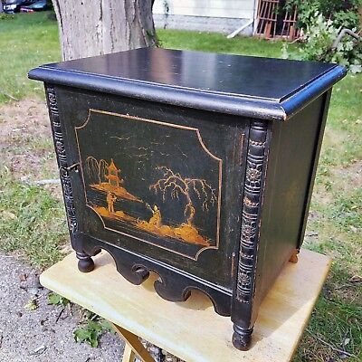 Early 1900's Copper Lined Humidor / Cigar Stand Cabinet w Japanese Motif