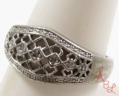 Sterling Silver Vintage 925 Filigree Cocktail Diamond Ring Sz 10 (4.5g) - 738257