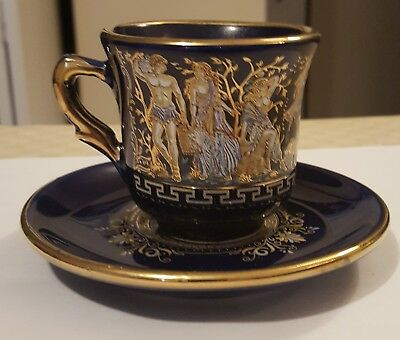 Greek Cup & Saucer Cobalt Blue with 24K Gold Hand Made in Greece