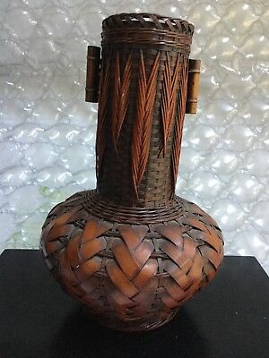 Antique ASIAN Woven Bamboo Over Bamboo core Ikebana VASE  China Japan 7 in