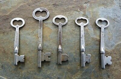 Five Assorted Antique Flat Shaft Sargent  Mortise Lock Skeleton Keys