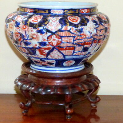 19th Century Meiji Period Imari Jardiniere Painted with Flowers and Buildings