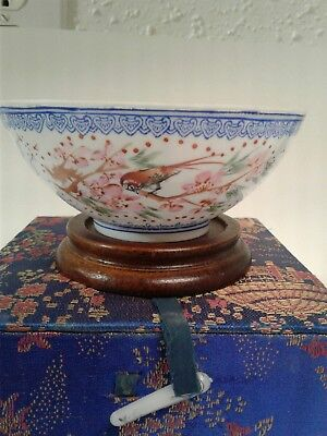 Antique  Chinese (hand-painted) Porcelain Eggshell Bowl with Mark