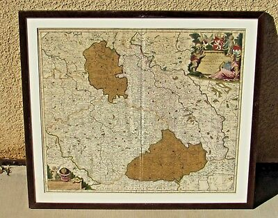 NICOLAS VISSCHER Antique 1600's Original Map of BOHEMIA, Moravia--Hand Colored