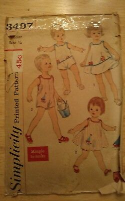 Vintage 1960s Simplicity 3497 Sewing Pattern Toddler Size 1/2 cut