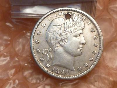 1894 s Barber Silver Quarter Almost Uncirculated Semi-Key Date Holed #2