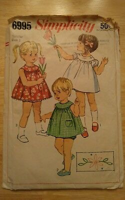 Vintage 1960s Simplicity 6995 Sewing Pattern Toddler Size 1  cut