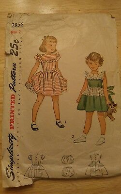 Vintage 1960s Simplicity 2856 Sewing Pattern Toddler Size 2 cut