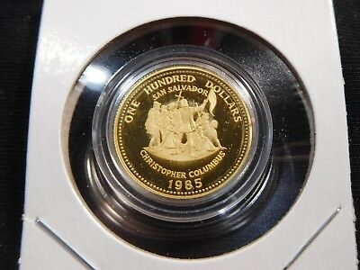 W61 Bahamas 1985 GOLD $100 Christopher Columbus Proof In Capsule