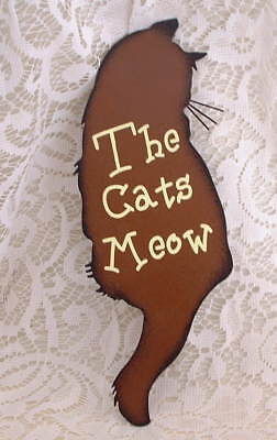 New Crazy Cat Lady Folk Art Feline The Cats Meow Cat Kitten Metal SIGN Ornament