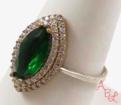 Sterling Silver Vintage 925 Cocktail Chrome Diopside Ring Sz 9 (2.8g) - 736909
