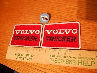 2 VOLVO Trucking Iron on Patches & 1 VOLVO Emblem Lapel Pin