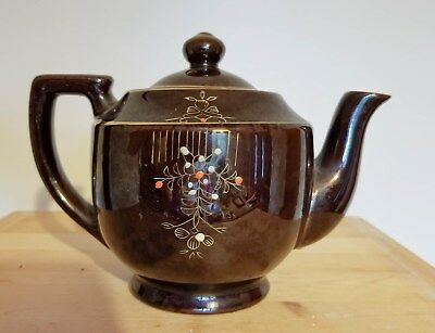 """Vintage Small Brown Ceramic Teapot Made in Japan Gold Trim Flowers 4.5"""" Tall"""