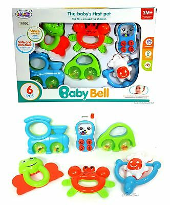 6pcs Baby's First Pet Shake Rattles Roll Play Toy For 3M+