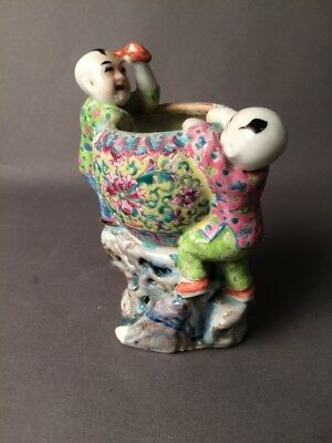 Marked Chinese Porcelain Pottery Famille Rose Figurine Vase Pot