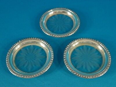 Antique Frank M. Whiting Co.Sterling Silver Talisman Rose Coaster Set of 3