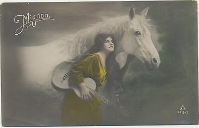 Antique Vtg Rppc Photo Postcard Hand Colored Enchanting Lady With Guitar & Horse