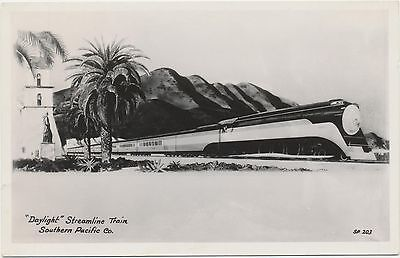 c1940 Vtg Original EKC RPPC Daylight Streamline Train Southern Pacific Railroad
