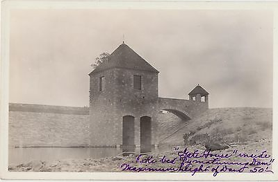 c1940 RPPC Real Photo Unidentified Gatehouse INSIDE LAKE BED by MATURING DAM