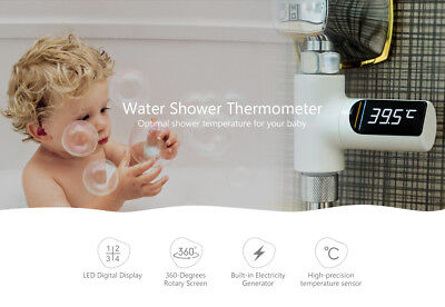 LED Display Water Shower Thermometer Faucet Self-Generating Electricity Temp