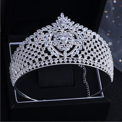 7.5cm High Twinkling CZ Crystal Wedding Bridal Party Pageant Prom Crown Tiara