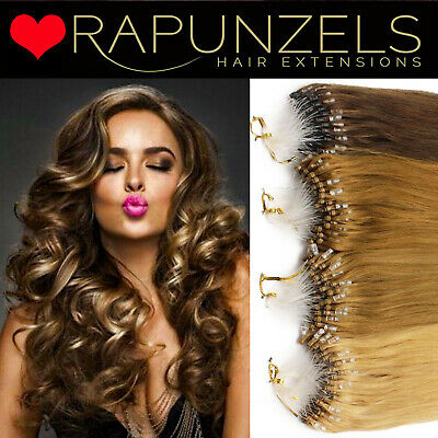 "18"" micro ring easy loop bead hair extensions, double drawn real remy quality"