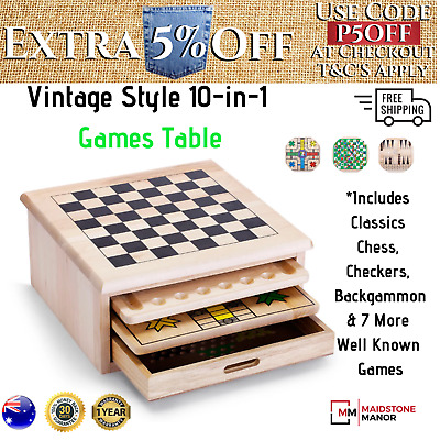 Game Table Vintage Chess Set 10-in-1 Wooden Wood 1970's Checkers kids Christmas