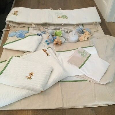 Living Textiles Baby Animals 9 piece Cot Set including Musical Mobile