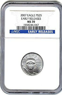 2007 Platinum Eagle $25 NGC MS70 (Early Releases) Statue Liberty 1/4 oz