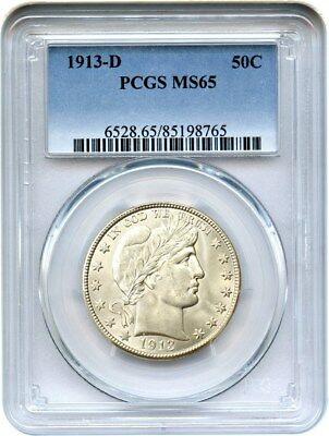 1913-D 50c PCGS MS65 - Slightly Better Date Gem - Barber Half Dollar