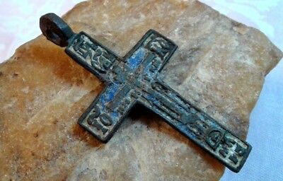 "ANTIQUE 18-19th CENT. LARGE ORTHODOX ""OLD BELIEVERS"" CROSS BLUE ENAMEL PSALM 68"