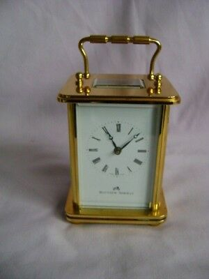 Modern Matthew Norman 8 Day Timepiece Carriage Clock In Gwo With Key