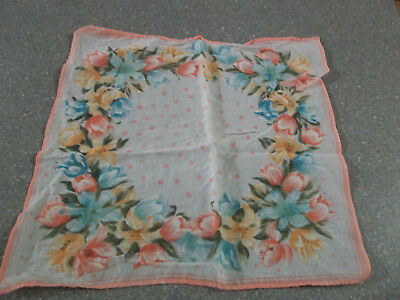 Vintage Handkerchief Pink and Blue Floral