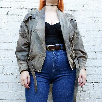 Vintage 80s Brown Leather Jacket UK12 Beige Aviator Style Grunge Goth Biker 90s