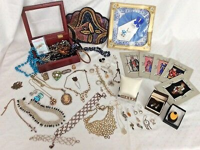 Job Lot Antique Vintage Costume  Jewellery inc 9ct & 30g 925 Sterling Silver