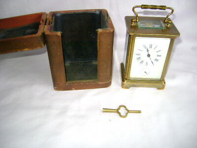 French Timepiece Carriage Clock With Alarm, In Origial Carrying Case + Key