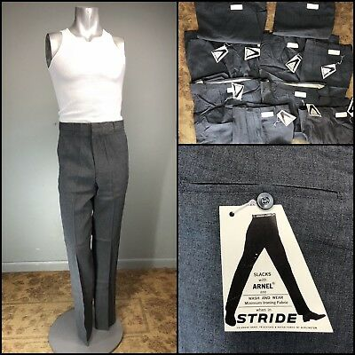 Vtg 50s Pants 10 PR Rayon LOT 60s Slim Fit Tapered Blend Charcoal All Sizes NOS