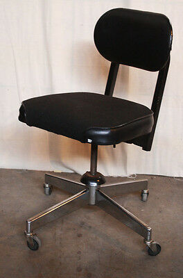 Vintage Antique Metal Fabric Dentist Office Swivel Seat Reclining Rolling Chair