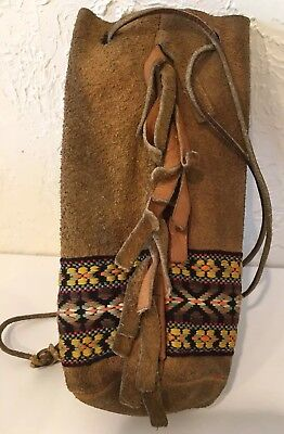 ~*~HOUSTON ESTATE FIND~*~*  NATIVE AMERICAN Indian STYLE Fringed LEATHER POUCH